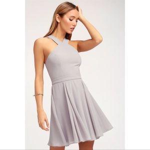 Lulus forevermore gray skater dress XS medium